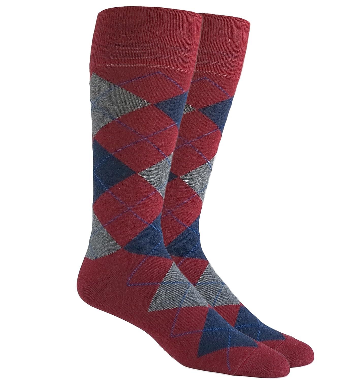 Argyle Mens Cotton Blend Dress Socks Red Wine Grey Navy Blue Size 8-14