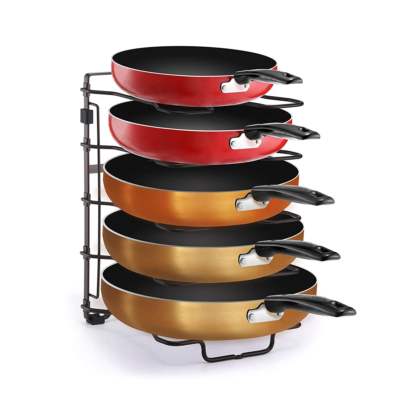 Simple TrendingAdjustable Pan and PotLid Organizer Rack Holder, Kitchen Counter and Cabinet Organizer, Bronze