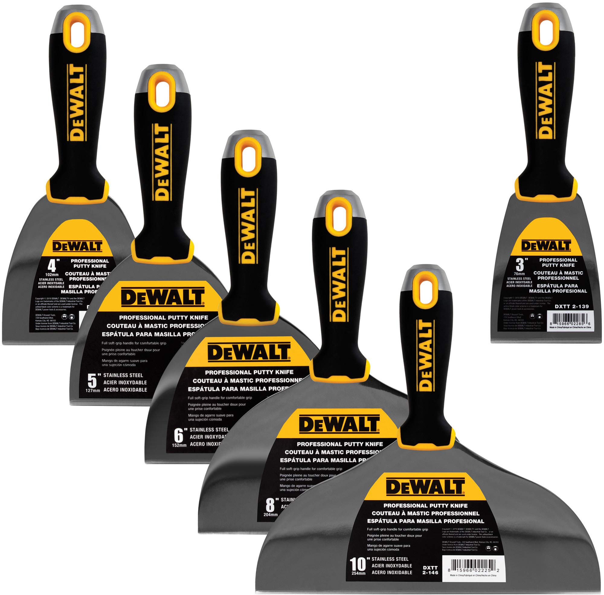 DEWALT DELUXE Stainless Steel Putty Knife Set | 4/5/6/8/10-Inch + 3-Inch Included for FREE | Soft Grip Handles | DXTT-3-139 by DEWALT