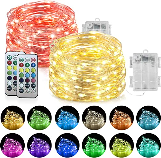 for Indoor Outdoor Wedding Party Decoration Battery Operated RGB LED String Lights 13 Colors Homemory 2Pack 20FT Color Changing Fairy Lights with Remote Timer