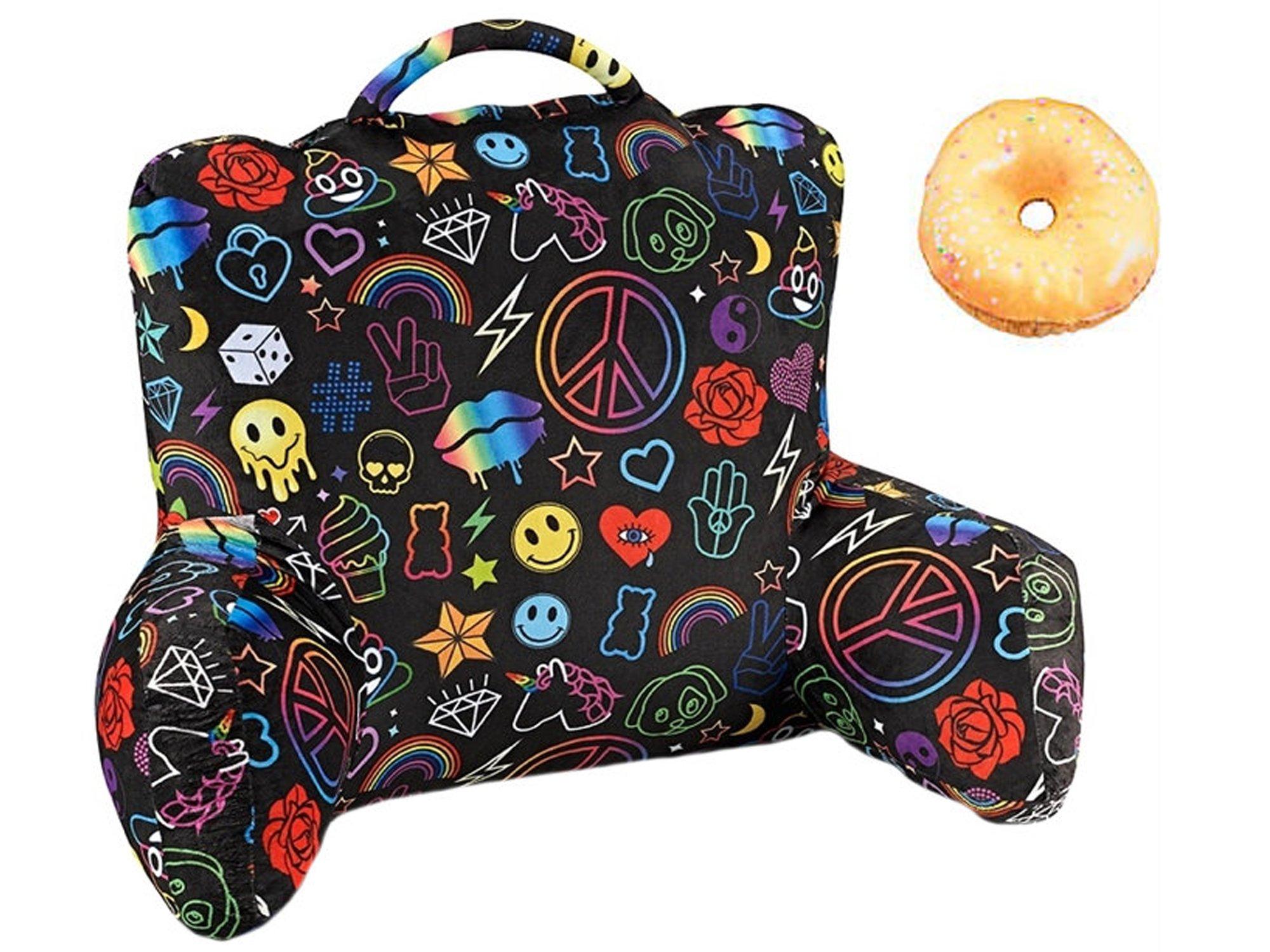 Top Trenz Inc Emoji Black Light Look Husband/Boyfriend Backrest Pillow & Plush Donut Multipack