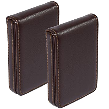 online store 892b4 e6d2c NISUN Leather Pocket Sized Business/Credit/ATM Card Holder case Wallet with  Magnetic Shut for Gift (Vertical) (2 Pack)