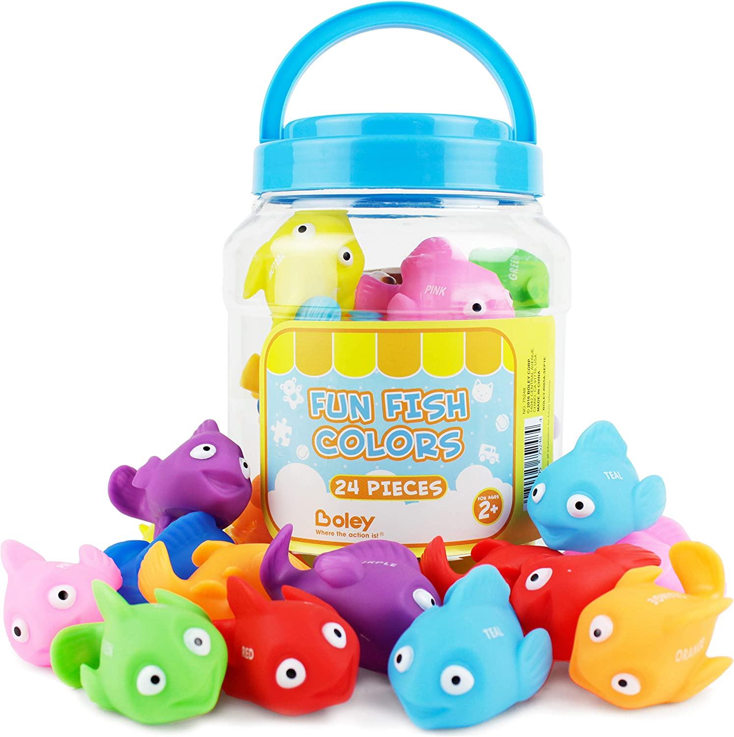 Boley Catch The Fish Bathtub Toys 4 Pack Small Light Up Sea Animal Kids Bath Toys for Ages 6 and Up