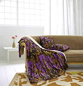 """Regal Comfort The Woods Luxury 3pc Set Purple Sherpa 50""""x70"""" Fleece Blanket and 18""""x18"""" Plush Throw Pillows Home Collection - Siesta Throw Blankets with 2pc Decorative Pillows for Sofas and Couches"""