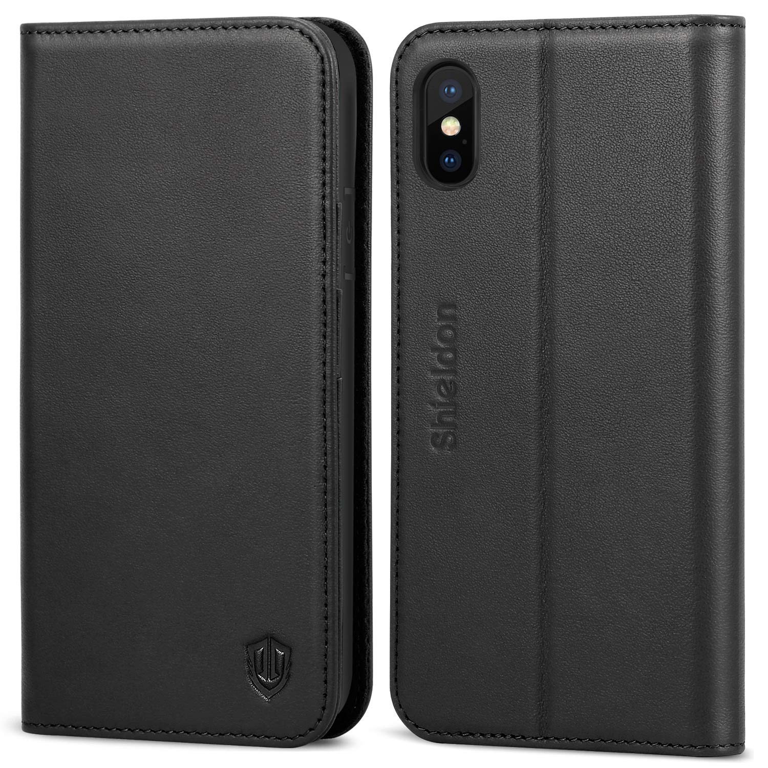 iPhone Xs Case, SHIELDON Genuine Leather iPhone Xs Wallet Folio Case with Auto Sleep/Wake Function, Magnetic Closure, RFID Blocking Card Slots, Soft Back Cover Compatible with iPhone Xs (2018) - Black