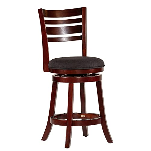 DTY Indoor Living Granby 4-Slat Back Upholstered Swivel Stool, 24 Counter Stool, Espresso Finish, Charcoal Upholstered Seat