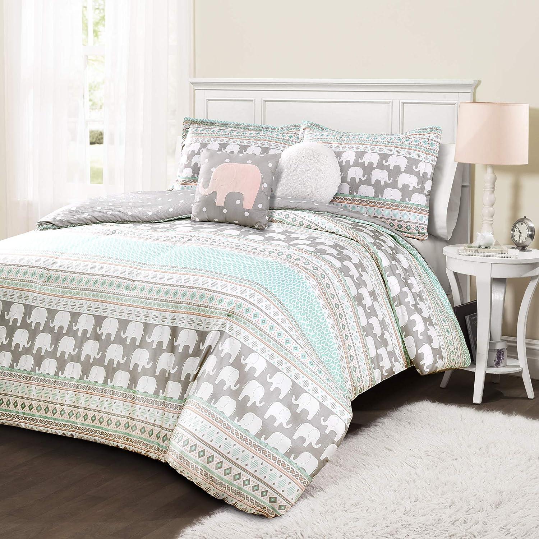 Lush Decor, Turquoise & Pink Elephant Stripe 5 Piece Comforter Set, Full/Queen