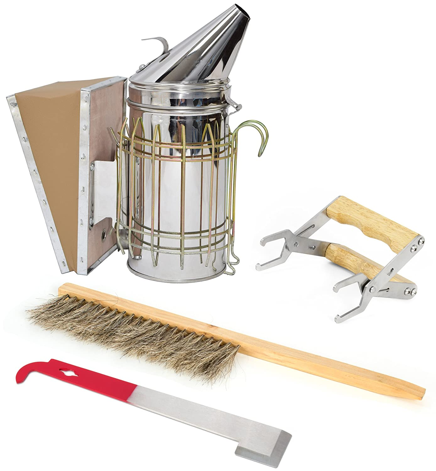VIVO Beekeeping Starter Tool Kit Set of 4 with Bee Hive Smoker, Brush, Frame Grip, and Stainless Steel J-Hook Lifter Equipment (BEE-KIT2)