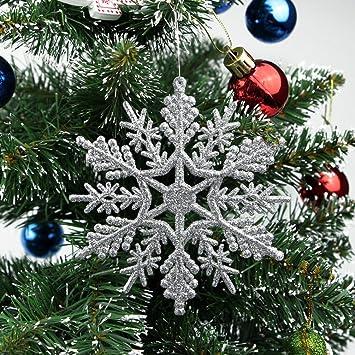 Weihnachtsbaum Plastik Weiß.Tenrany Home Weiß Schneeflocken Ornament 30 Stück Plastik