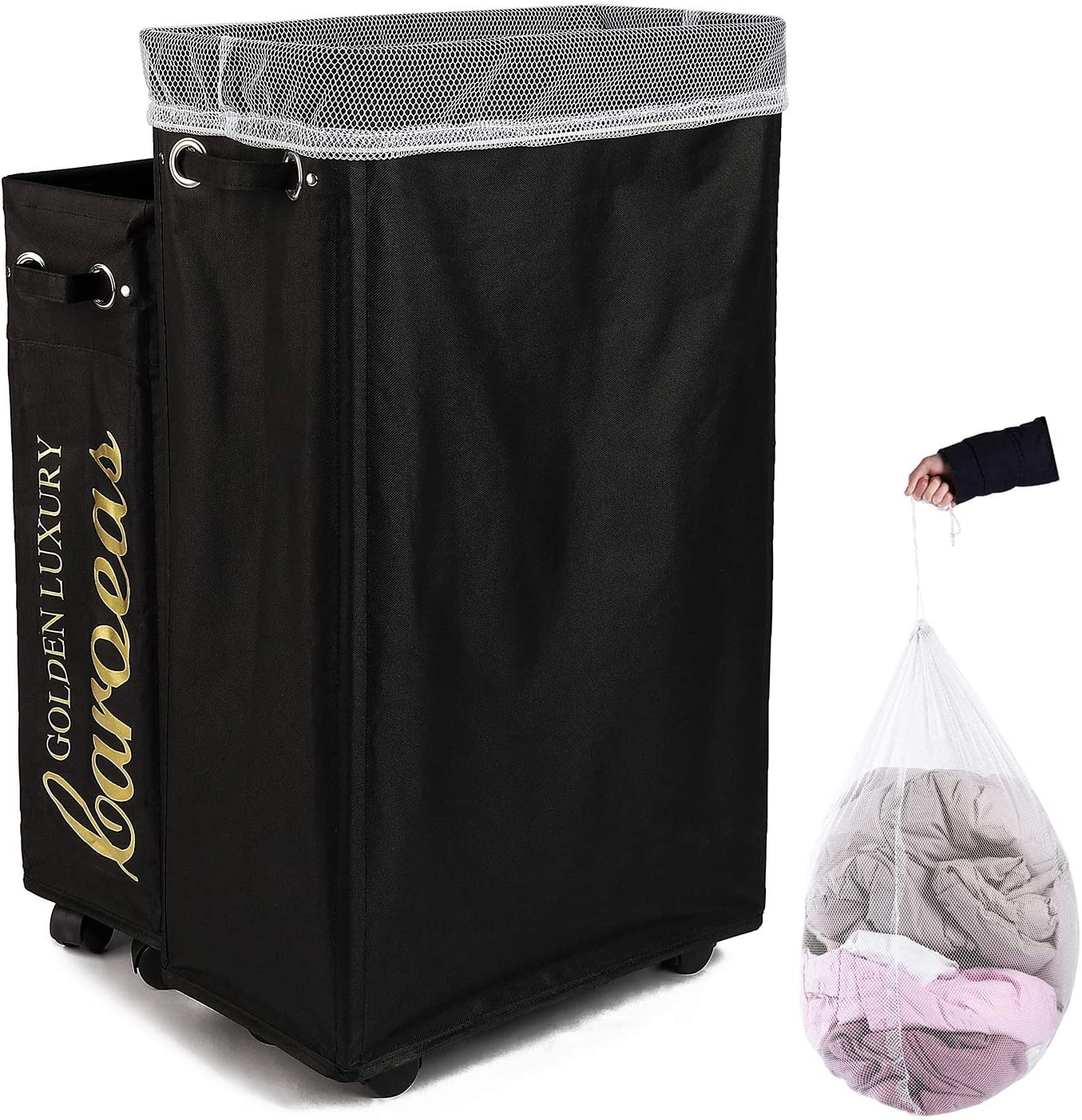 Caroeas Laundry Hamper, Rolling Laundry Basket Collapsible Tall Slim Laundry Hamper with Washable & Breathable Mesh Liner Waterproof & Dustproof Laundry Cart on Wheels (Black)