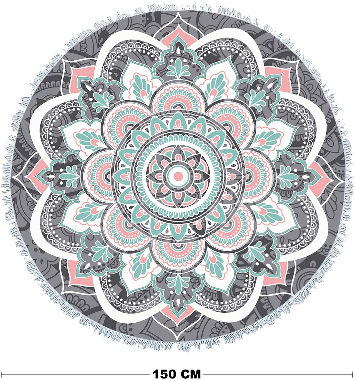 Beach Towel Round Roundie Mandala Tapestry Beach Tapestry Picnic Blanket Yoga Mat Table Cloth Hippie Bohemian Decor Ultra/ Soft/ Super/ Water/ Absorbent 59 inch Orange