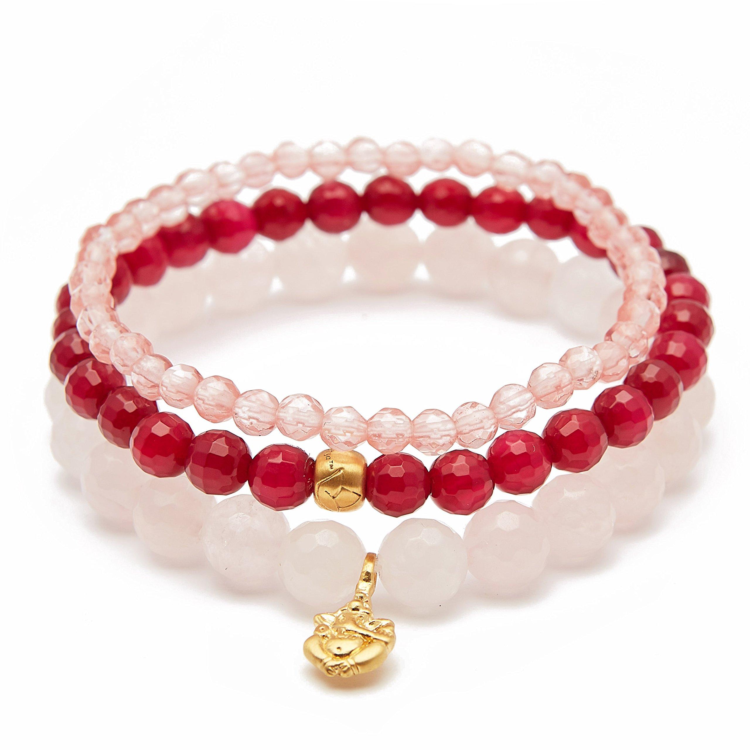Satya Jewelry Women's Rose Quartz Fuchsia Agate Cherry Quartz Gold Ganesha Lotus Stretch Bracelet Set, One Size