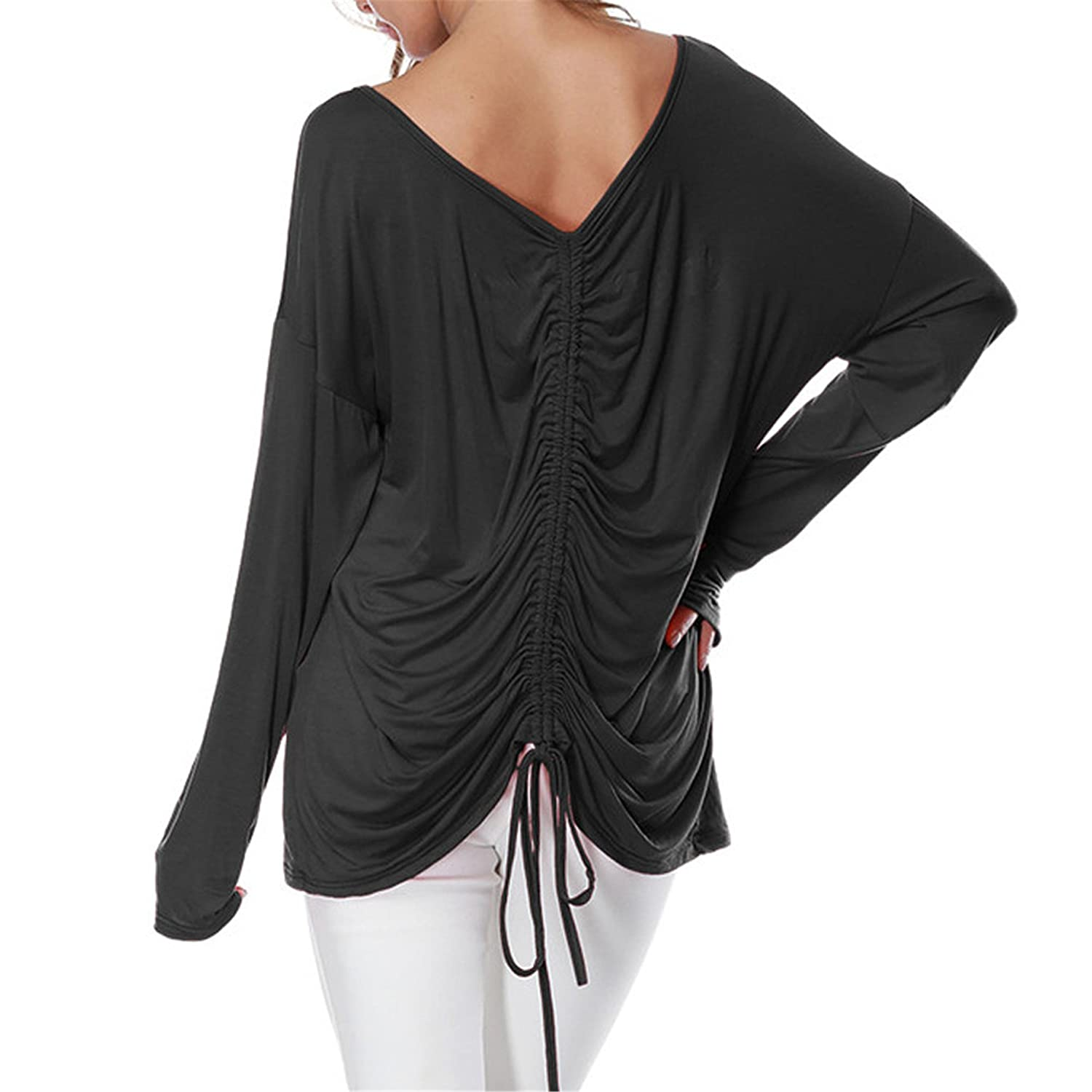 Londony Newest Arrivals Winter Lace up Pleated Batwing Shirt Blouses Long Sleeve Tunic Symmetric Hem Tops for Womens