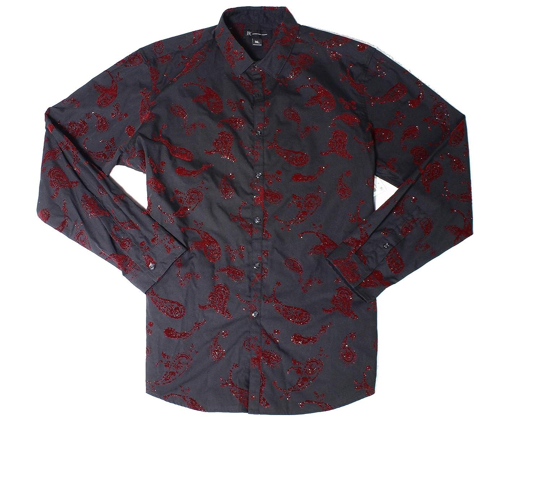 I-N-C Mens Velvet Glitter Button Up Shirt