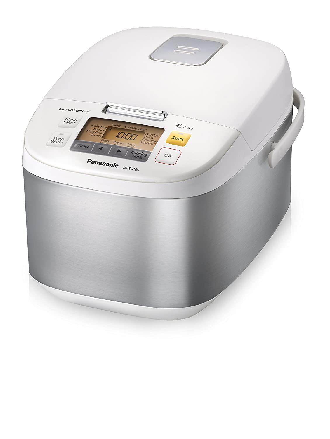 Panasonic 5-Cup (Uncooked) Microcomputer Controlled Rice Cooker & Multi-Cooker, Stainless Steel/White SR-ZG105
