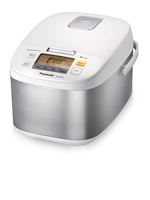 Panasonic 10-Cup (Uncooked) Microcomputer Controlled Rice Cooker & Multi-Cooker, Stainless Steel/White