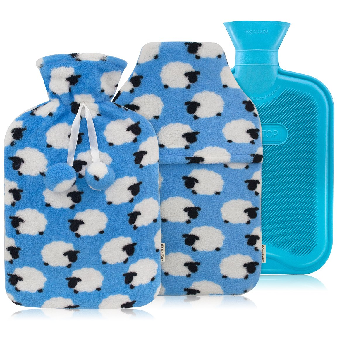 HomeTop Premium Classic Rubber Hot or Cold Water Bottle with Soft Fleece Cover (2 Liters, Blue/Blue Sheep Envelope Cover + Regular Cover)