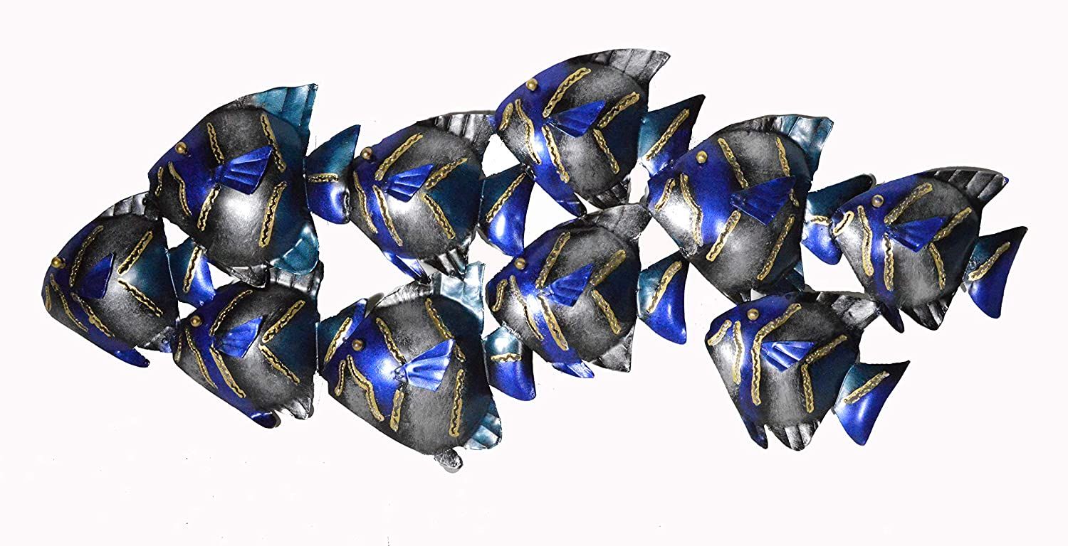 Amazon com beautiful unique blue nautical school of fish contemporary metal wall art home kitchen