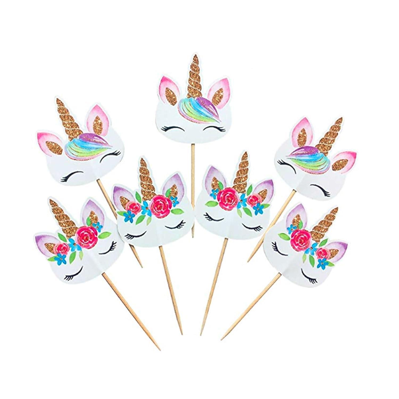Rainbow Unicorn Cupcake Toppers, Unicorn Cupcake Toppers, Baby Shower, Unicorn Picks, 24, 48 (24) SnapUpGo