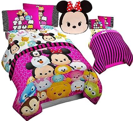 Disney TSUM TSUM - Juego de sábanas de 6 piezas, tamaño completo, juego de