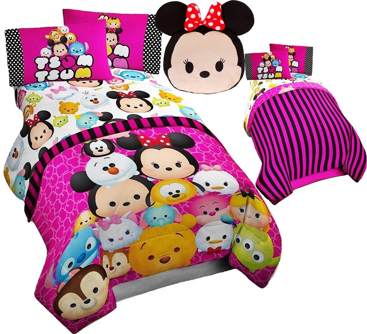 Disney TSUM TSUM 6pc FULL Size Bedding ~ TWIN/FULL Comforter & FULL Size Sheet Set + MINNIE MOUSE Tsum Tsum Plush Pillow by Franco