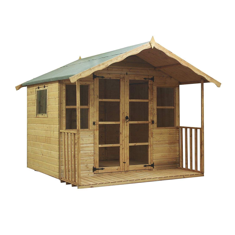 8x8 sussex wooden garden summerhouse shiplap tg opening window veranda by waltons amazoncouk garden outdoors