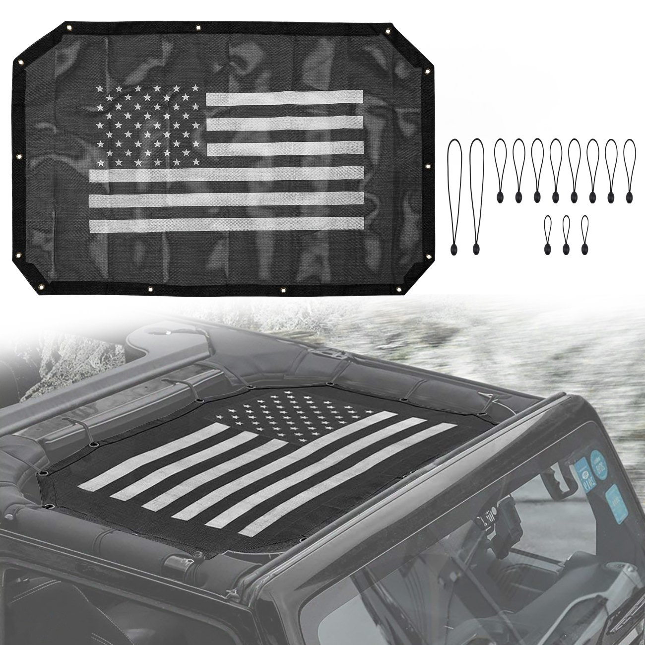 Yoursme US Flag Mesh Sun Shade Top Cover Provides UV Protection for Jeep Wrangler Front Passengers 2 Door or 4 Door JK JKU 2007-2018