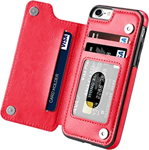 iPhone 7 Case, iPhone 8 Case, iPhone SE 2nd 2020, Hoofur Slim Fit Premium Leather iPhone 7 Wallet Cases Card Slots Shockproof Folio Flip Protective Defender Shell for Apple iPhone 7/8 / SE2 (Red)