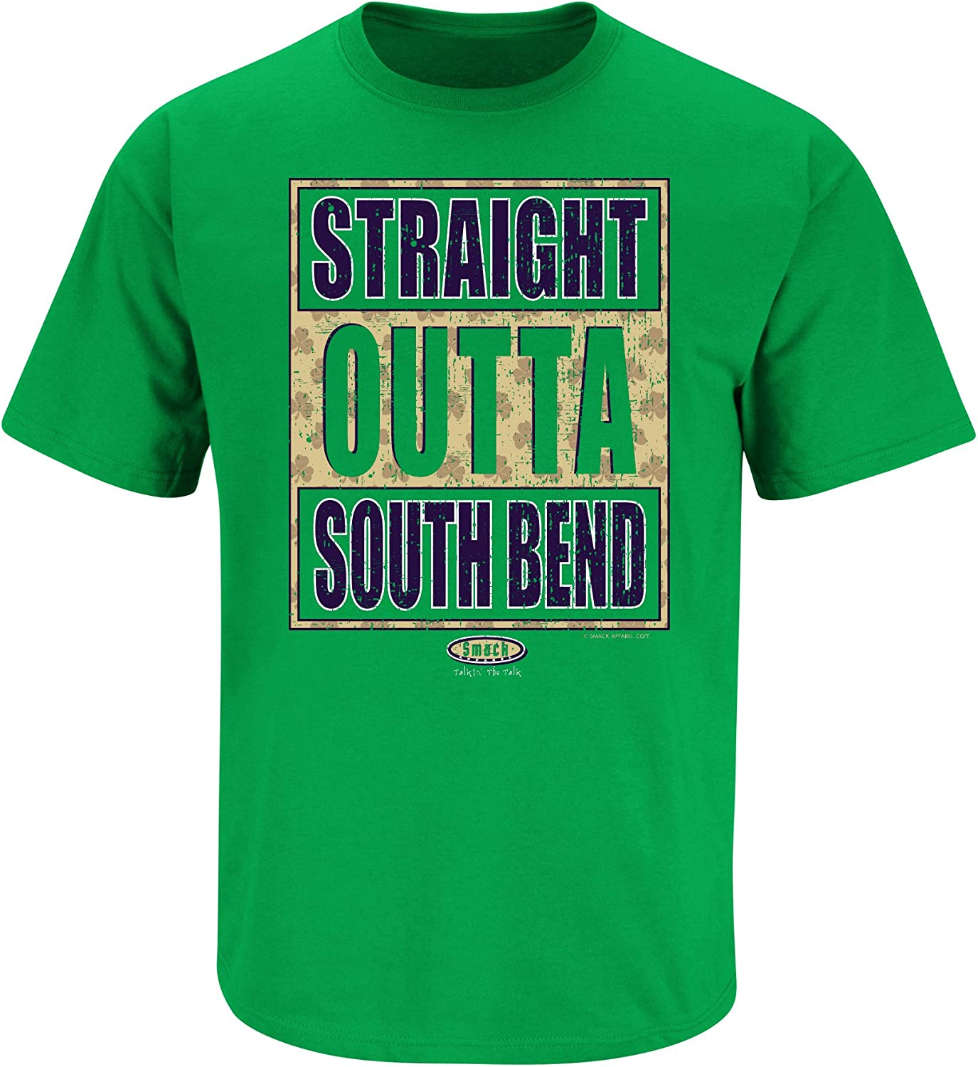 Straight Outta South Bend Sm-5X Smack Apparel Notre Dame Football Fans Green T Shirt