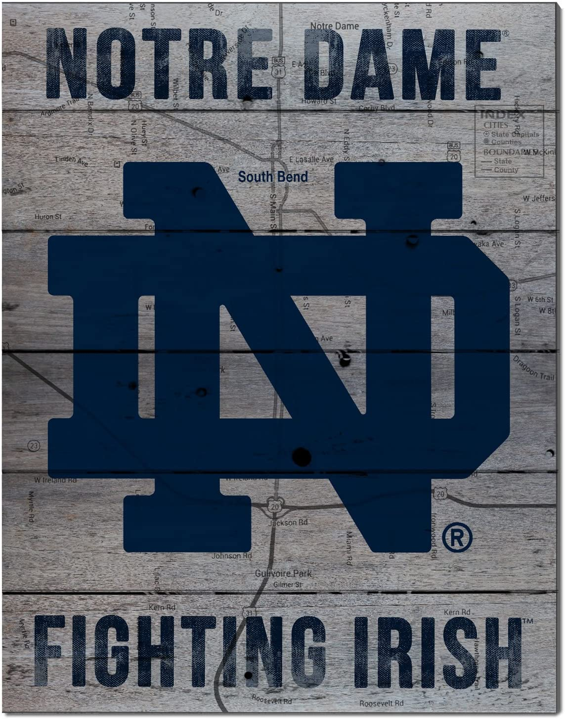 "KH Sports Fan 16""x20"" Notre Dame Fighting Irish Road to Victory Collage Pallet Pride Plaque, Gray"