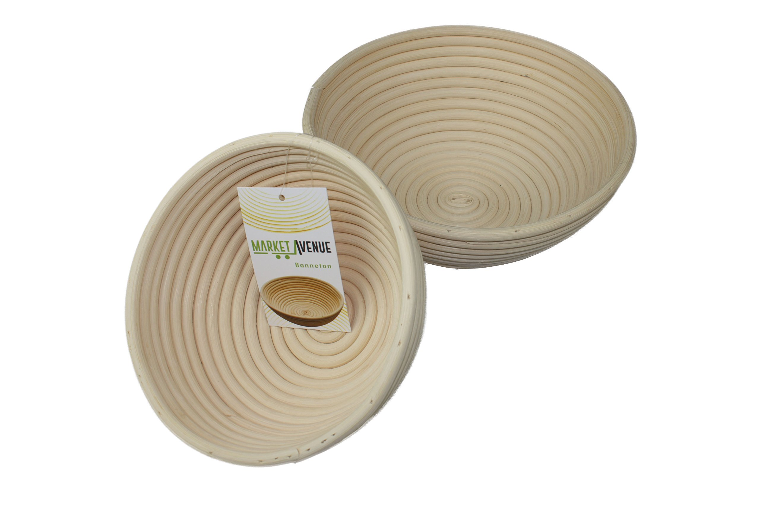 Round Banneton Bread Proofing Basket by Market Avenue | 2pc set: 8.5in and 7in Rattan Bread Baskets | Brotform for baking homemade artisan bread | Handmade Bread Proofing Bowl good for storing bread