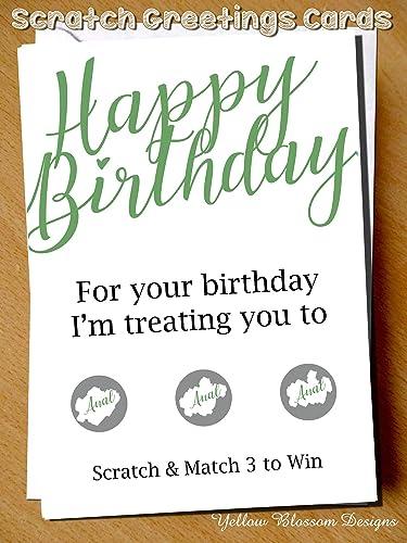 Naughty Rude Happy Birthday Greetings Card Funny Scratch Card Man