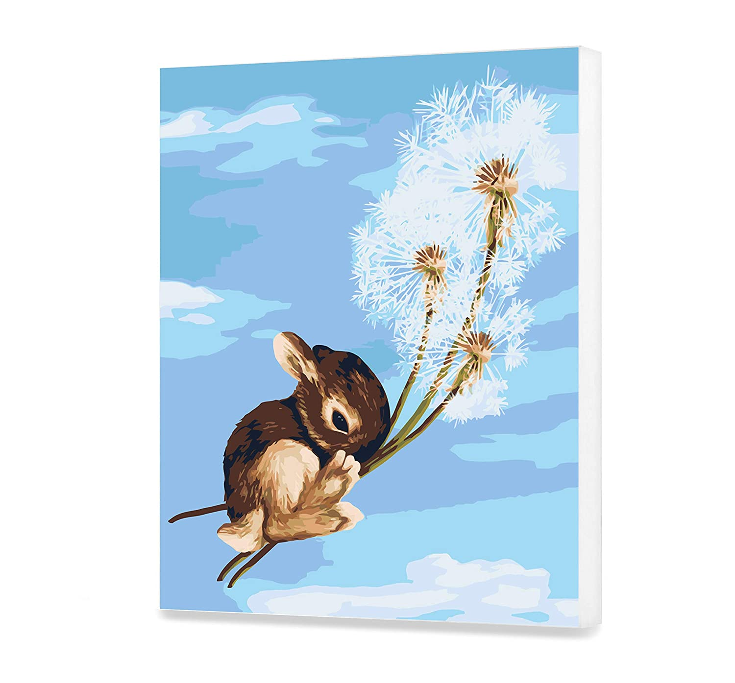 In The Air HandMade DIY Veronica Minozzi Painting by Numbers Cute Animal Set for Painting Canvas With Frame Unique Design Dandelions Picture Gift for Adult