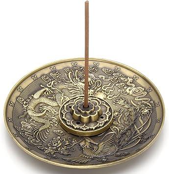 incensiere in bronzo di forma rotonda per uso domestico regalo Porta bastoncini di incenso