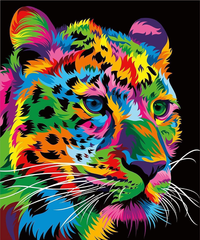 Kit de pintura al óleo iFymei DIY,Leopardo colorido 16x 20