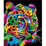 """ifymei Paint by Numbers for Kids - DIY Canvas Oil Painting Gift Kits for Boys and Girls - 16"""" x 20"""" Colorful Leopard [Without"""