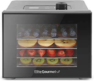 Elite Gourmet EFD308 Digital, 4 Stainless Steel Trays, Timer Function Food Dehydrator, Adjustable Temperature Controls, Jerky Herbs Fruit Veggies Snacks, Black