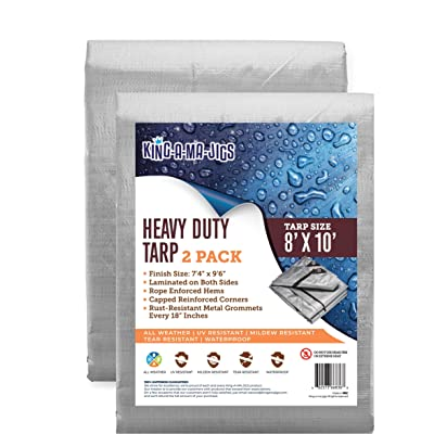 (2 Pack) 8x10 Heavy Duty Tarp, Waterproof Plastic Poly 10 Mil Thick Tarpaulin with Metal Grommets Every 18 Inches - for Roof, Camping, Outdoor, Patio. Rain or Sun (Reversible, Silver and Brown)