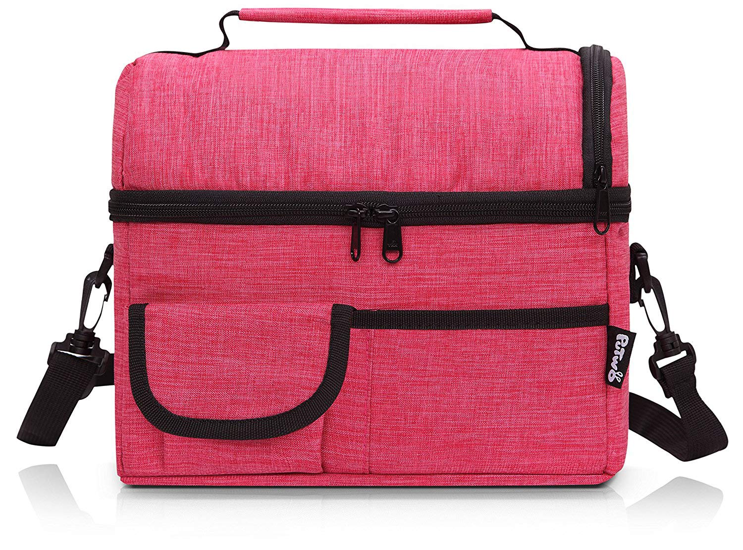 PuTwo Lunch Bag 8L Insulated Lunch Bag Lunch Box Lunch Bags for Women Lunch Bag for Men Cooler Bag with YKK Zip and Adjustable Shoulder Strap Lunch Tote for Kids Lunch Box Lunch Pail - Rosy