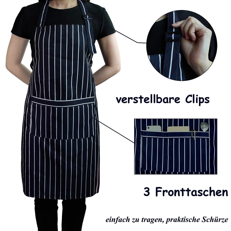 para hornear cintur/ón ajustable con bolsillos Delantal de cocina de algod/ón a rayas para hombres y mujeres azul marino Hanerdun