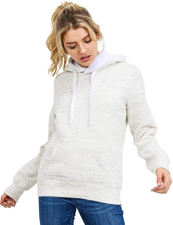 esstive Womens Fur-Hoodie Ultra Soft Fleece Solid Pullover Sweatshirt