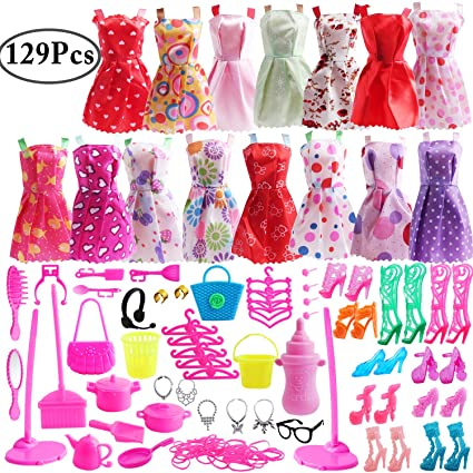 0d551cab5a4306 Amazon.com  Outee 129 Pcs Doll Clothes Set Accessories for Dolls Include Doll  Shoes Jewelry Necklace Earrings Outfits for Girls Kids Birthday Party  Gifts  ...