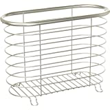mDesign Decorative Modern Magazine Holder and Organizer Bin - Standing Rack for Magazines, Books, Newspapers, Tablets in Bathroom, Family Room, Office, Den - Steel Wire Design - Satin