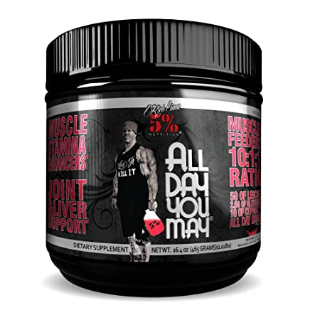 Rich Piana 5 Nutrition All Day You May BCAA Joint Recovery Drink Watermelon 17.2oz 465 Grams 30 Servings