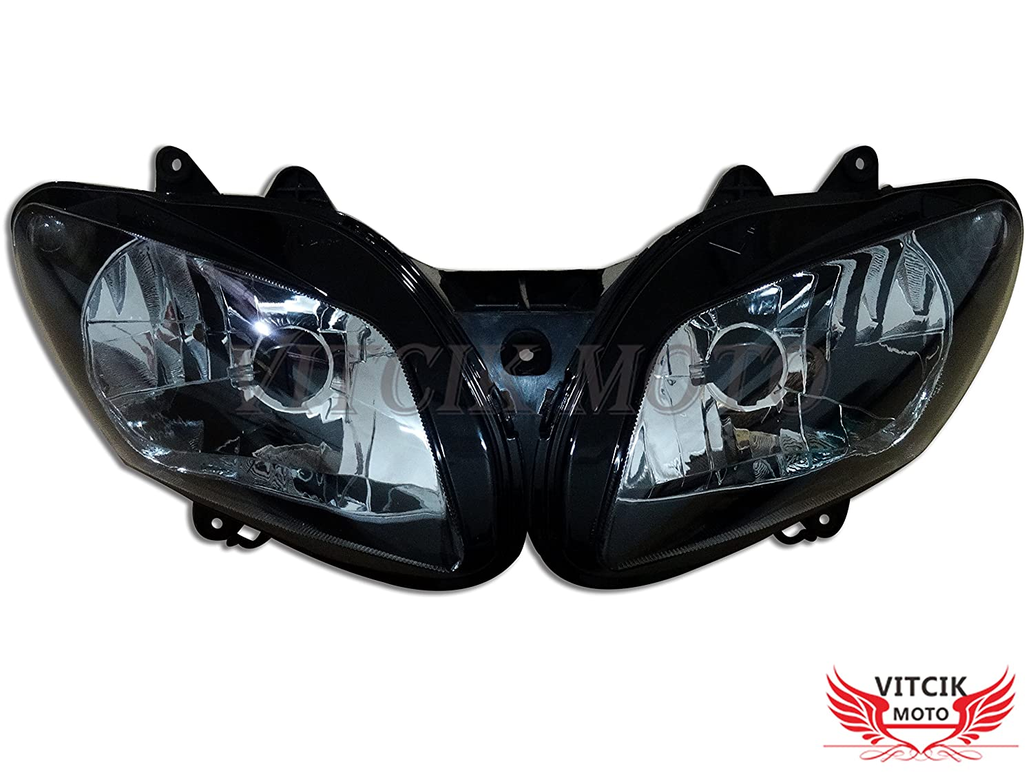 VITCIK Motorcycle Headlight Assembly for Yamaha YZF1000 R1 2002 2003 YZF 1000 R1 02 03 Head Light Lamp Assembly Kit Black