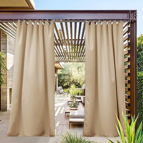 Outdoor//Indoor Patio Curtains Multi-Functional Waterproof Beige Tab Top Curtains