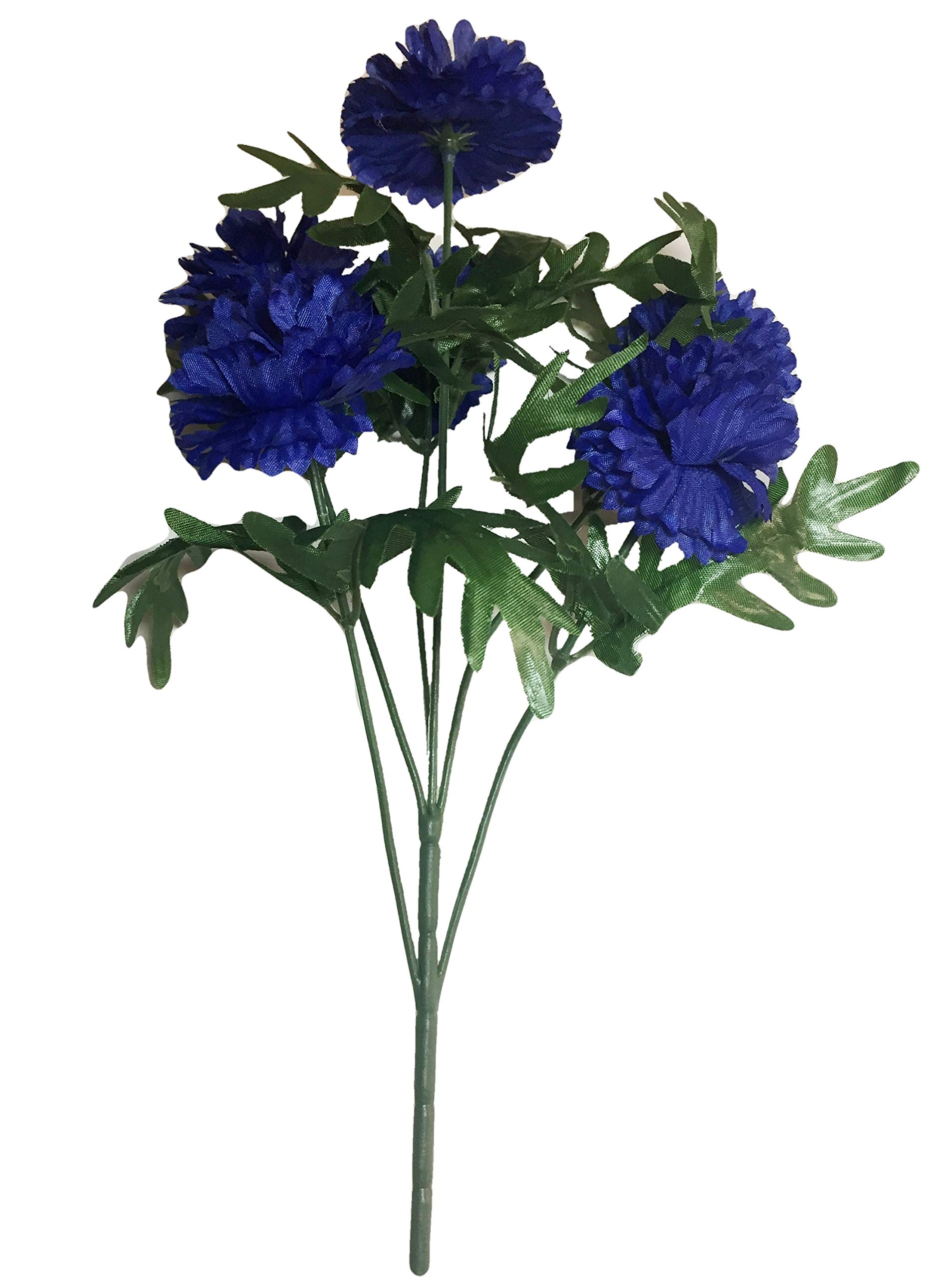 Jewel-Tone-Blue-Bachelors-Button-Blooms-Bush-20-inches-Tall-Bouquets-Home-Decor-Weddings-Offices-Outdoors-Lifelike-Realistic-Vases-Floral-Arrangements-Multi-Blossoms-Cornflowers
