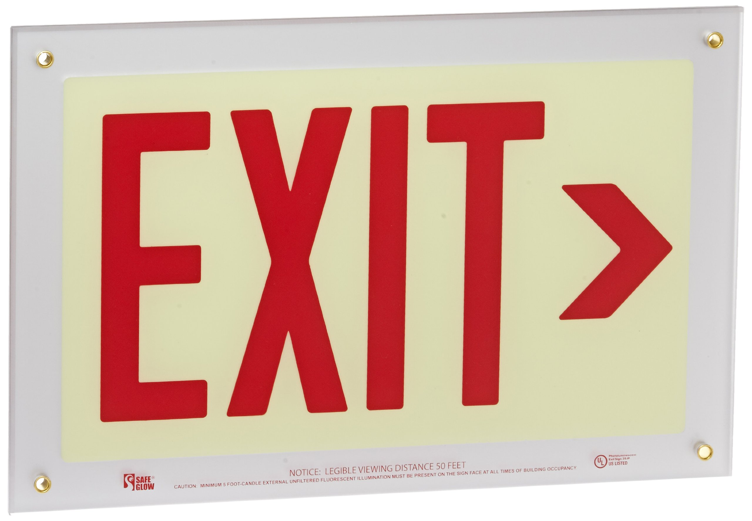 Safe Glow Photoluminescent Exit Sign, ''EXIT'' with Right Arrow Symbol, 14-5/8'' Length x 9-1/2'' Width x 1/4 '' Height, Wall Mount (Pack of 1)