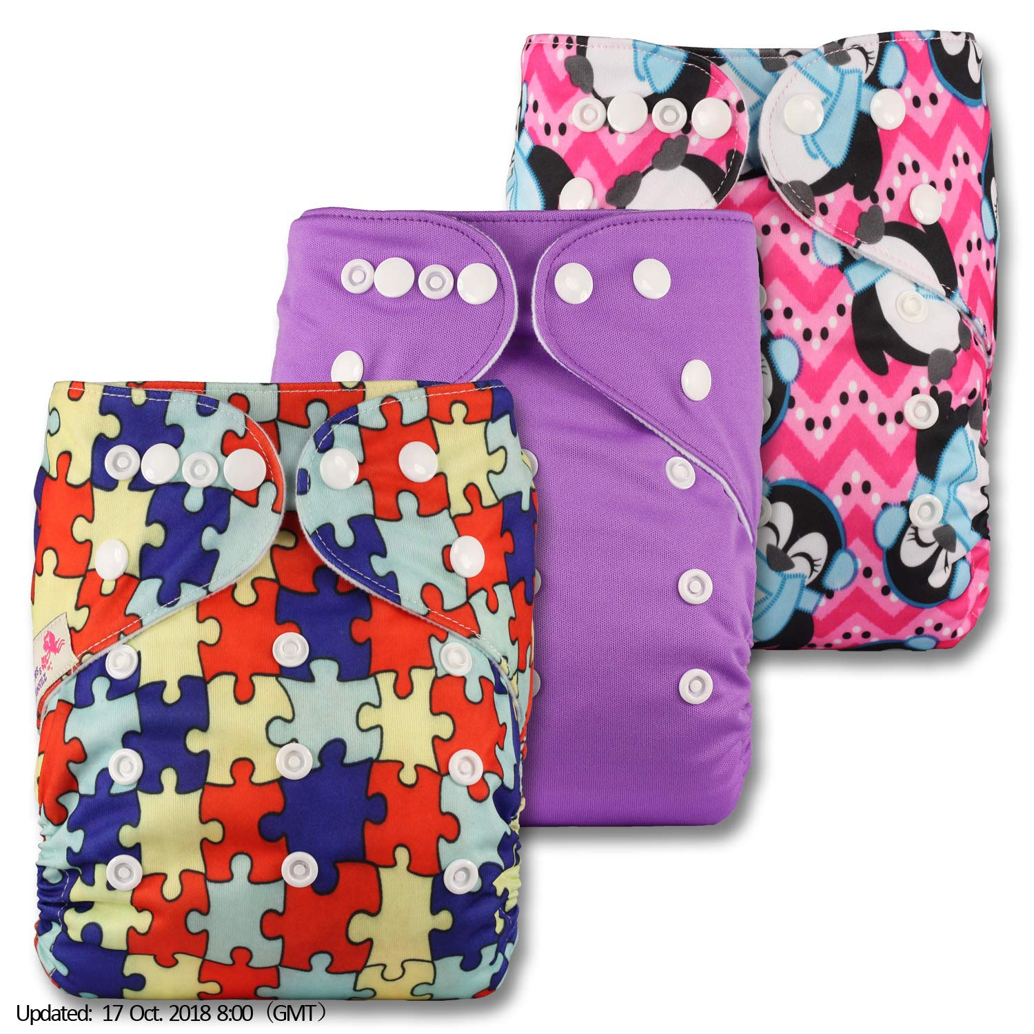 Without Insert Fastener: Popper Set of 3 Patterns 304 Reusable Pocket Cloth Nappy Littles /& Bloomz