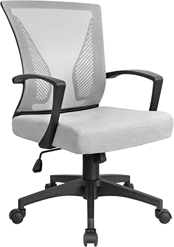 Ergonomic Office Chair Desk Chair Mesh Computer Chair Back Support Modern Executive Adjustable Rolling Swivel Chair for Women, Men White